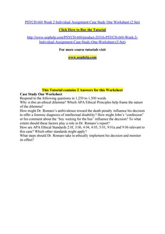 case study one worksheet psych 660