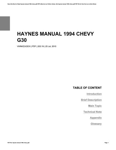 Haynes manual 1994 chevy g30 by kennethtruman1805 issuu save this book to read haynes manual 1994 chevy g30 pdf ebook at our online library get haynes manual 1994 chevy g30 pdf file for free from our online fandeluxe Images