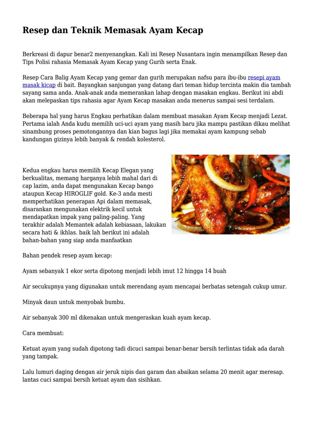 Resep Dan Teknik Memasak Ayam Kecap By Klikgayahidupnet Issuu