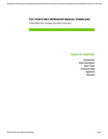 Fiat Punto Mk2 Haynes Manual Pdf