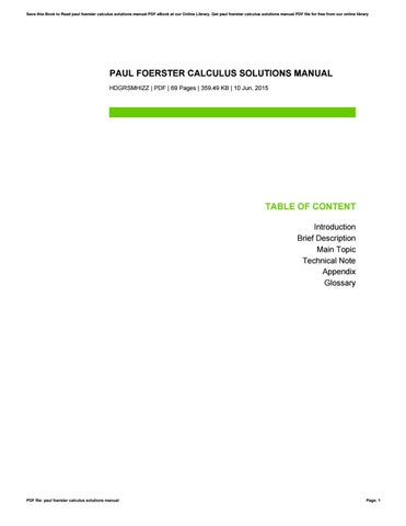 paul foerster calculus solutions manual by davidpeterson23231 issuu rh issuu com Paul Forester Sailing Paul Foerster Mathematics