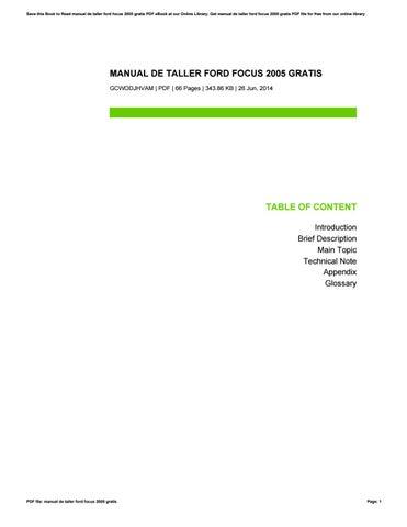 manual de taller ford focus 2005 gratis by richardhill4534 issuu rh issuu com manual ford focus 2005 manual ford focus 2005 pdf