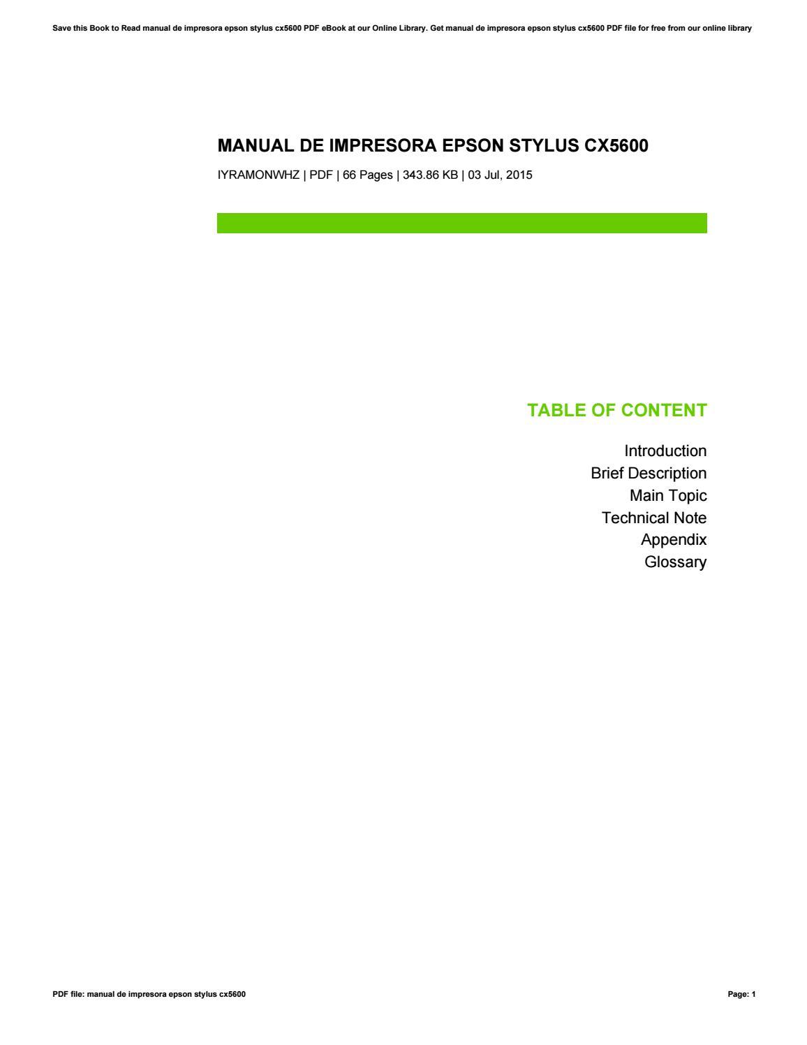 manual de impresora epson stylus cx5600 by yvonnechavez3948 issuu rh issuu com Epson NX215 Printer Manual Epson Printer R 2400 Manuals