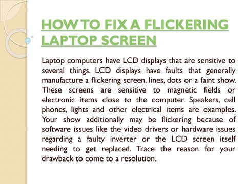 How to fix a flickering laptop screen by