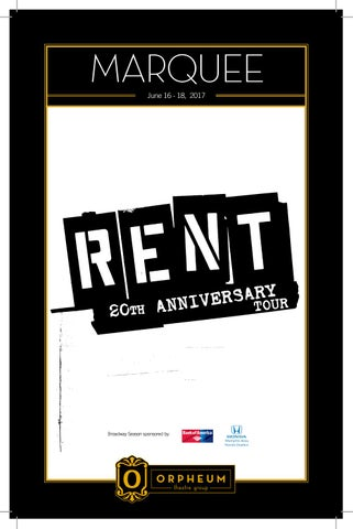 RENT 20th Anniversary Tour by Orpheum Theatre - issuu