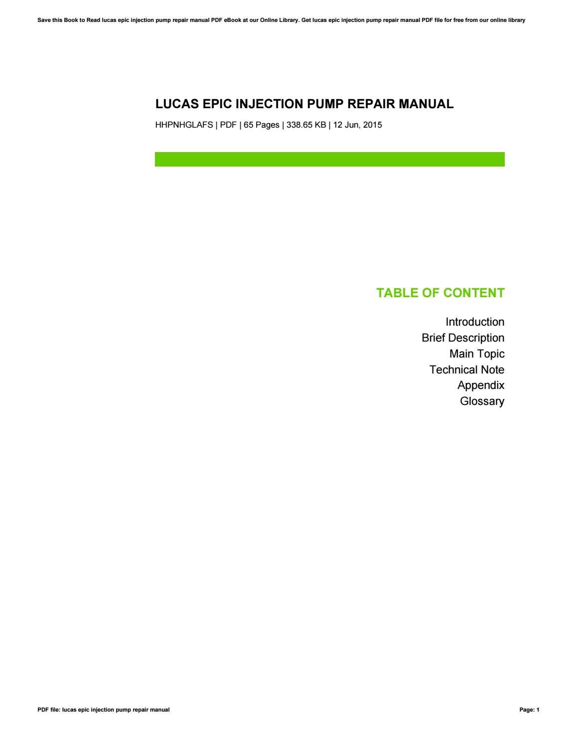 Lucas Epic Injection Pump Repair Manual By