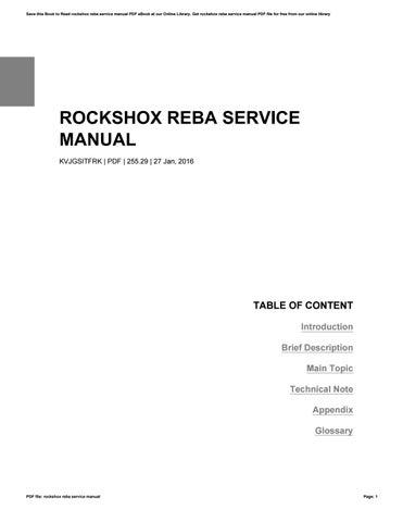 Rockshox reba service manual by VictorTompkins3555 - issuu