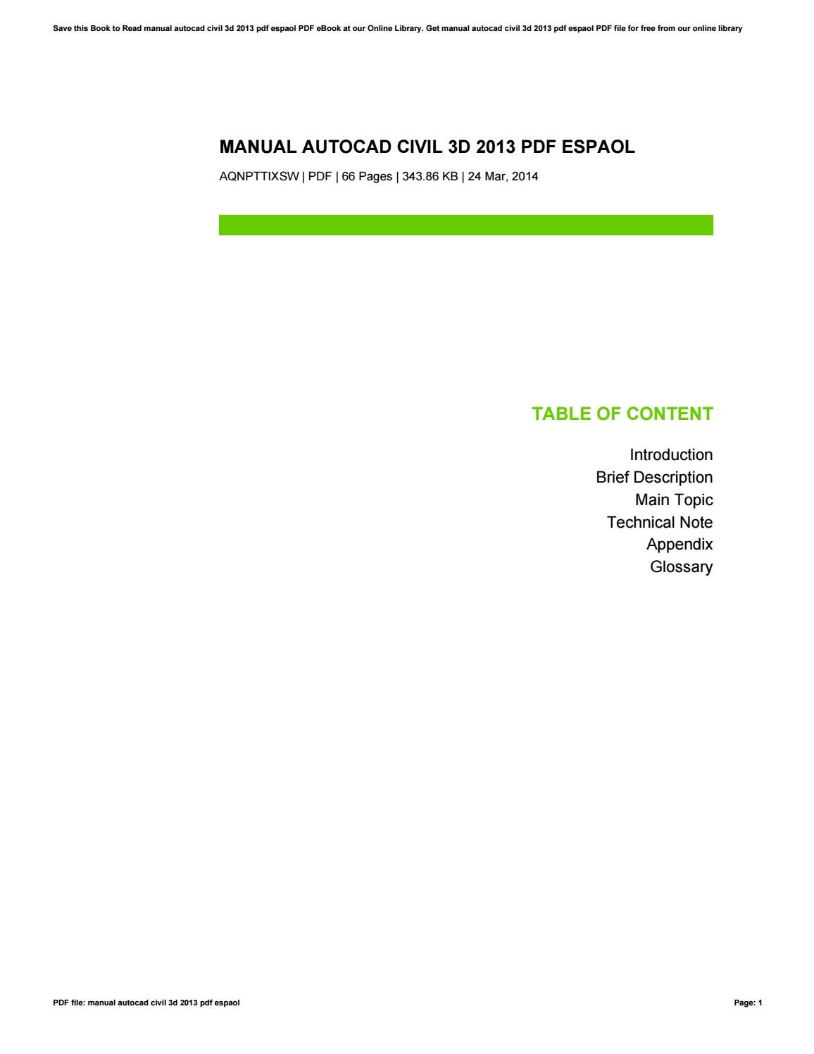 Manual autocad civil 3d 2013 pdf espaol by danielgreen2699 issuu baditri Image collections