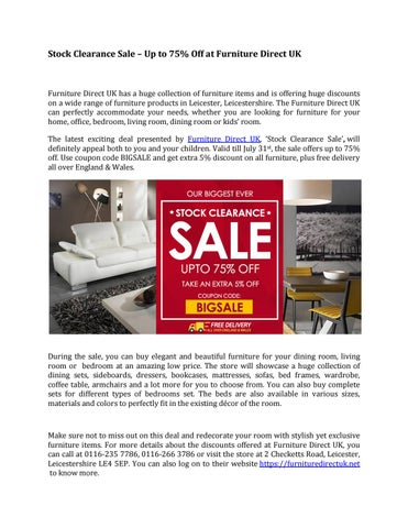 Stock clearance sale at furnituredirectuk net by Furniture ...