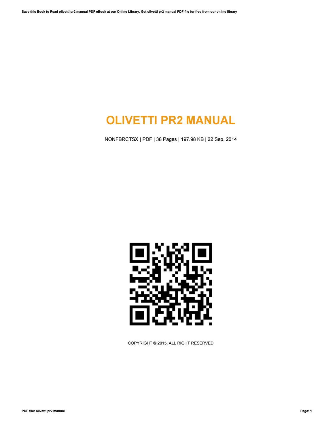Olivetti pr2 e specialized printer service repair manual download.