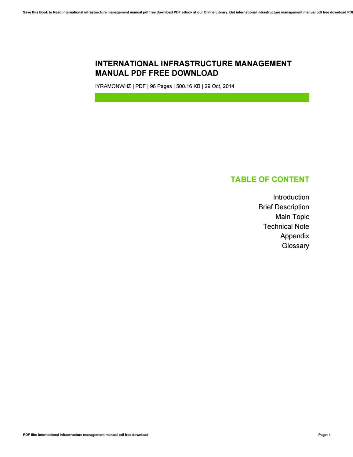 International infrastructure management manual pdf free download by  VeraGroves1428 - issuu