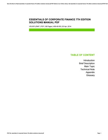 Essentials of corporate finance 7th edition solutions manual pdf by save this book to read essentials of corporate finance 7th edition solutions manual pdf pdf ebook at our online library get essentials of corporate finance fandeluxe Gallery