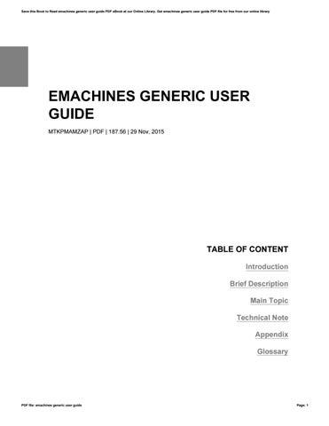 emachines generic user guide by rochelleperry3175 issuu rh issuu com Hewlett- Packard Hewlett- Packard