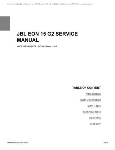 jbl eon 15 g2 service manual by rochelleperry3175 issuu rh issuu com EON15 G2 Speaker Operator Manual JBL EON15 G2 Schematics