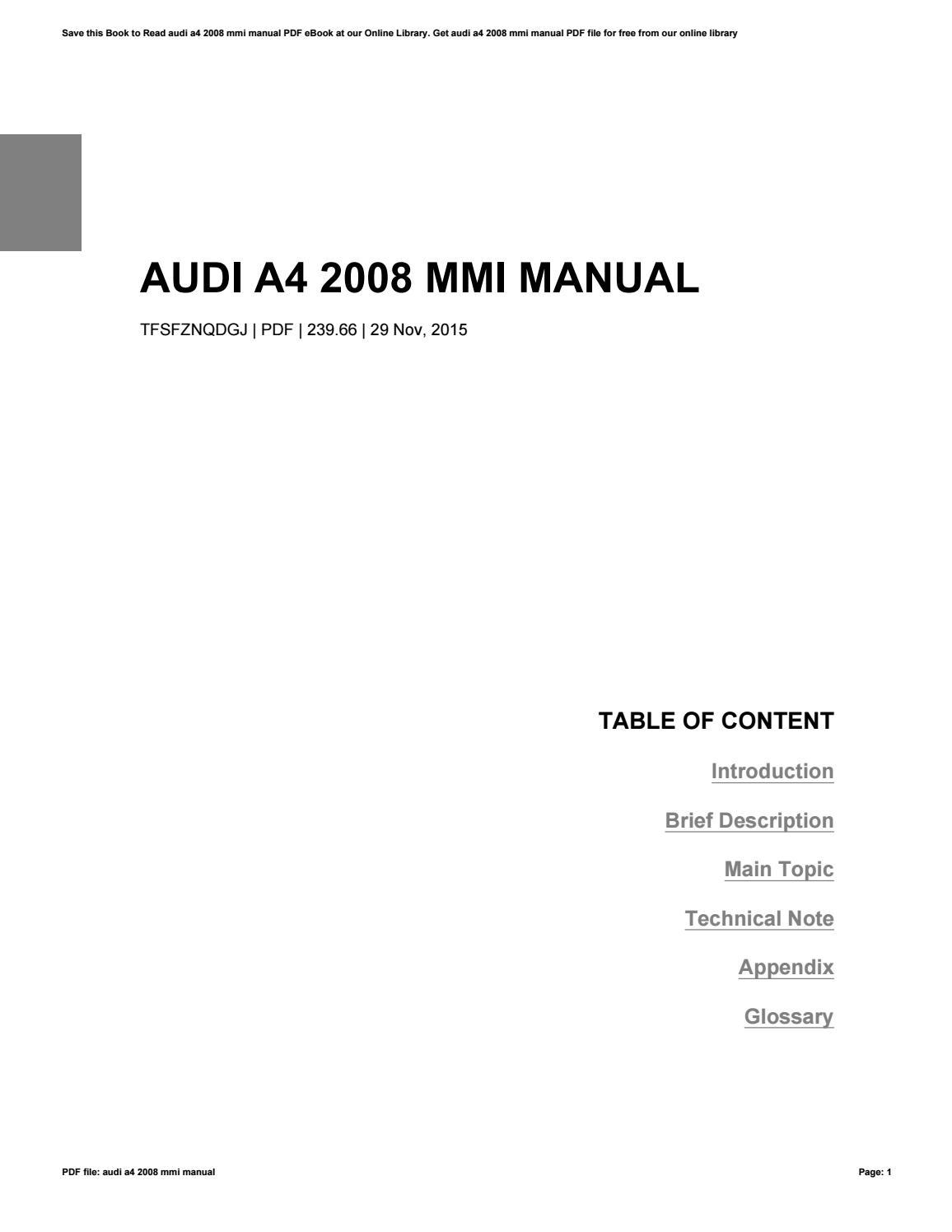 audi a4 2008 mmi manual by rochelleperry3175 issuu rh issuu com audi mmi manual 2014 audi mmi manual pdf