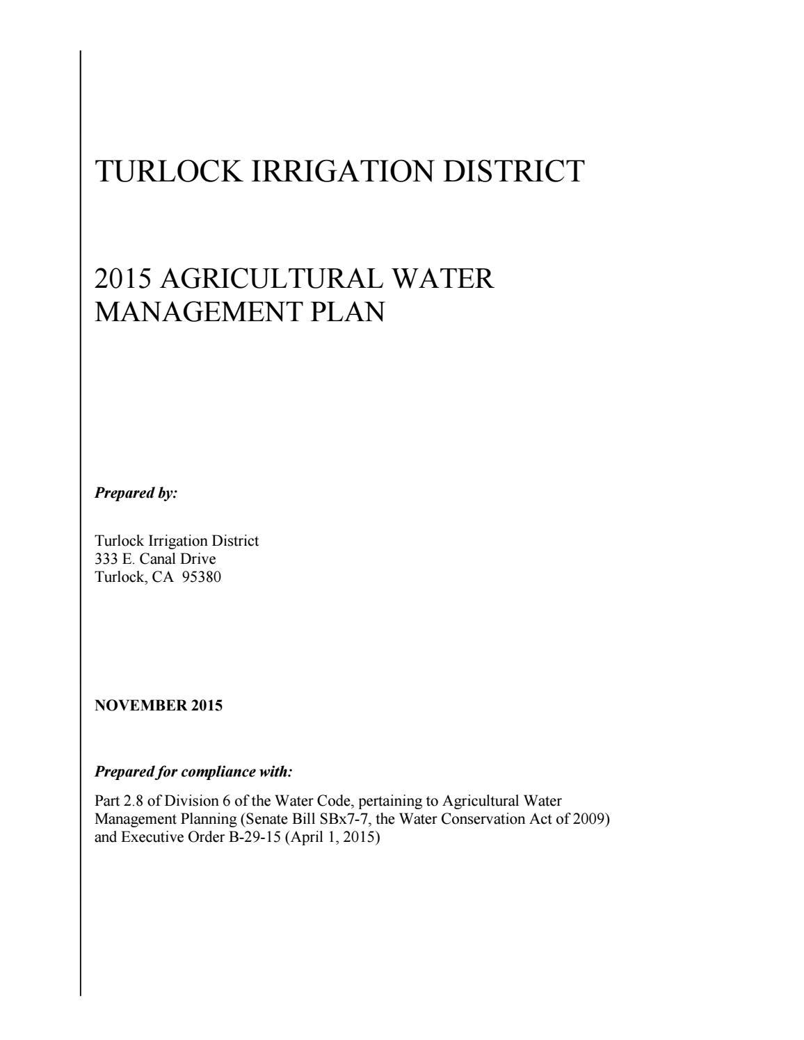 Tid Awmp 2015 Final 12 09 15 W Attachments (1) By Turlock Irrigation  District   Issuu
