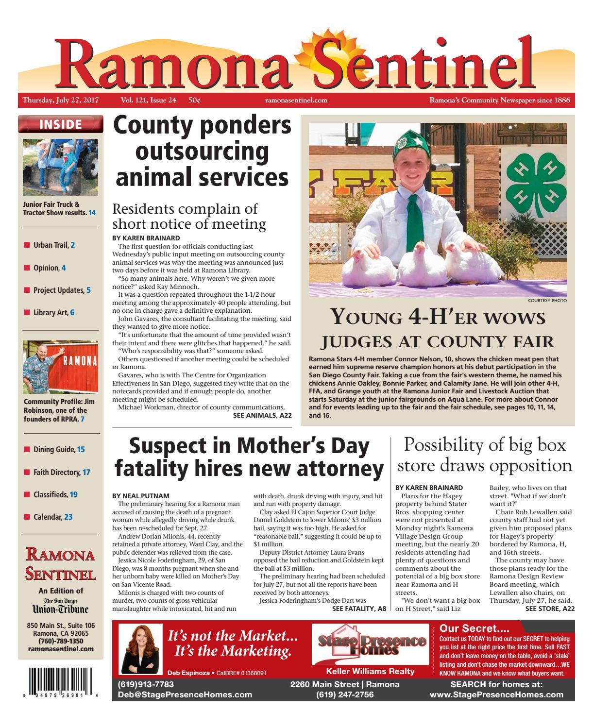 Ramona Sentinel 07 27 17 by MainStreet Media - issuu