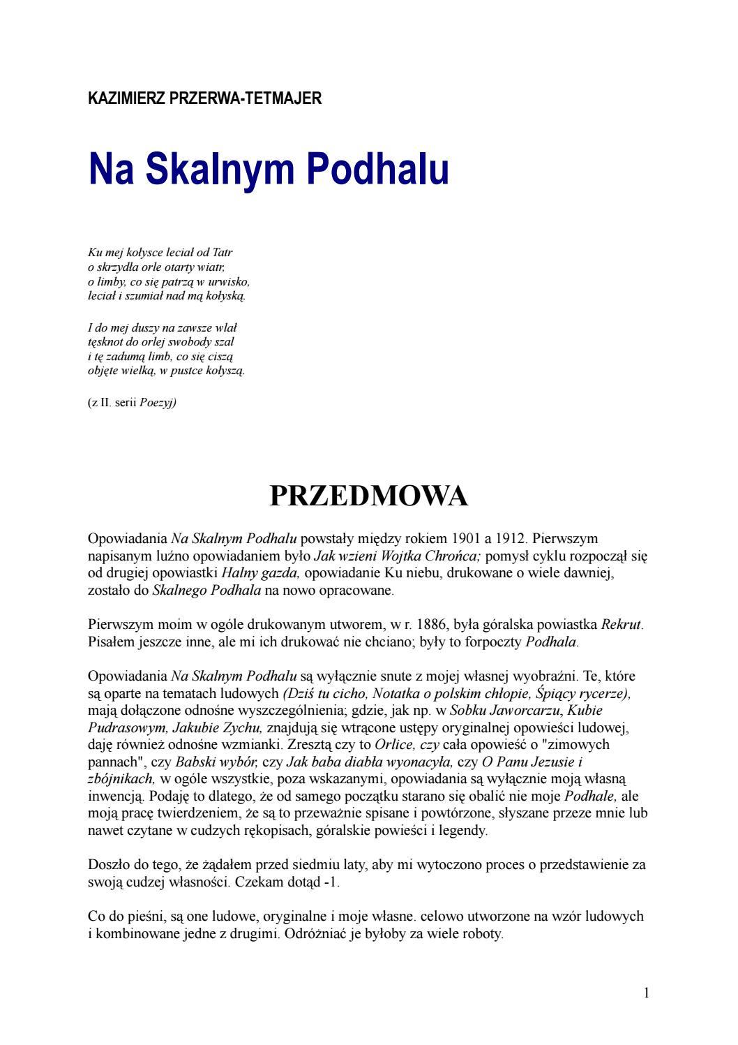 Kazimierz Przerwa Tetmajer Na Skalnym Podhalu By Ciotas Issuu