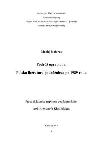 606f938ee95a2 Uniwersytet Śląski w Katowicach Wydział filologiczny Instytut Nauk o  Literaturze Polskiej im. Ireneusza Opackiego Zakład Literatury Współczesnej