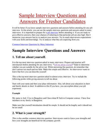 Sample interview questions and answers for fresher candidates by ...