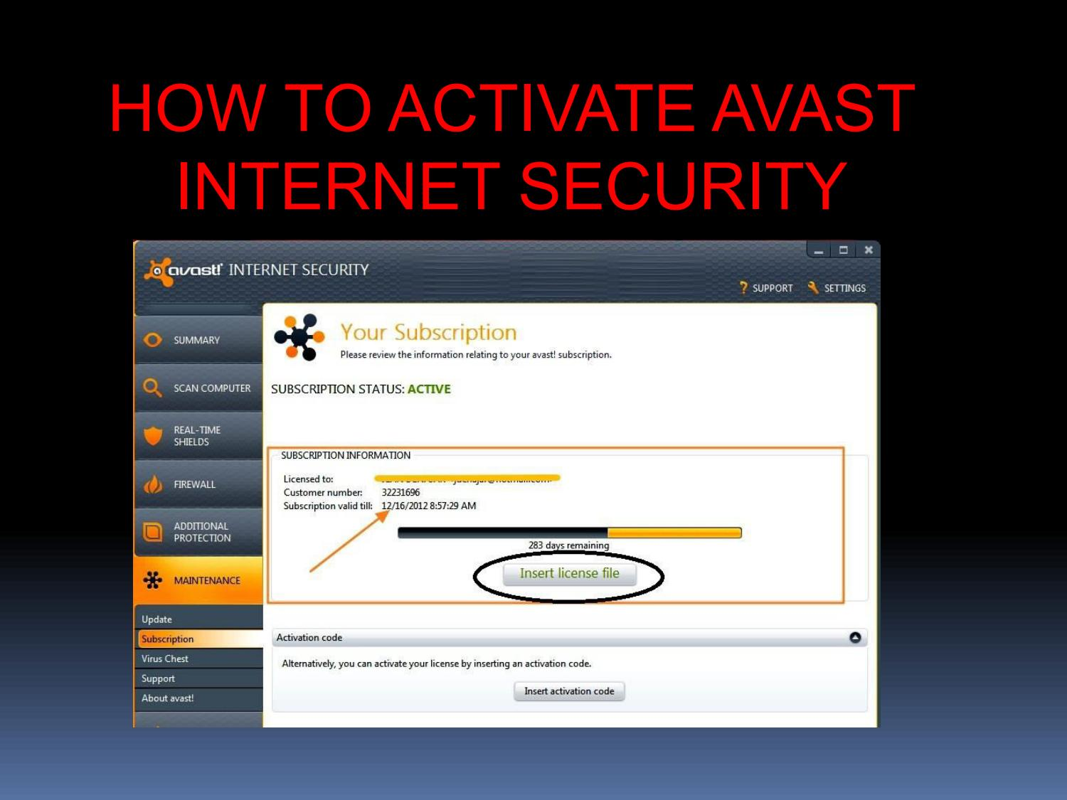 avast internet security insert activation code
