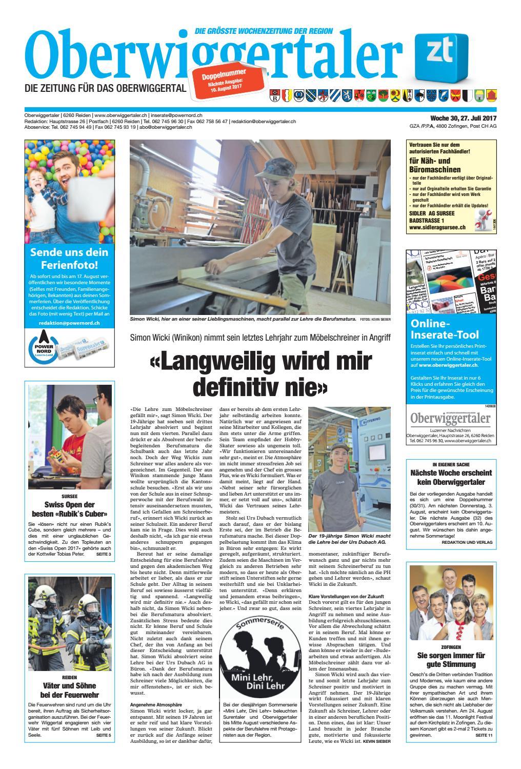 Oberwiggertaler 30/17 by ZT Medien AG - issuu
