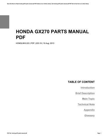honda gx270 parts manual pdf by brianfackler4376 issuu rh issuu com Honda GX270 Parts Dell GX270 Drivers