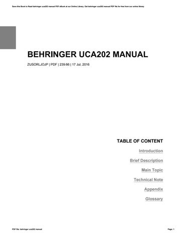behringer uca202 manual by anthonykinard1890 issuu rh issuu com behringer uca202 manual download Behringer UCA202 Setup