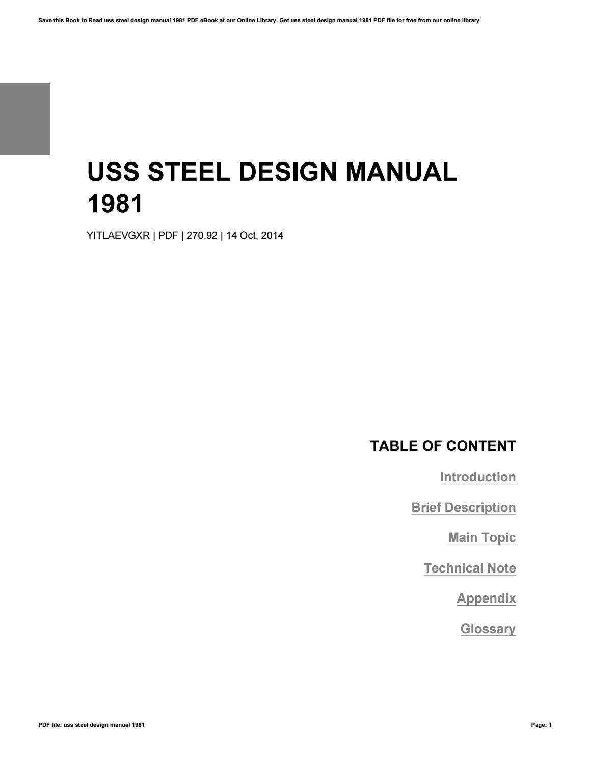 Uss Steel Design Manual 1981 By Mitchellwright4774 Issuu