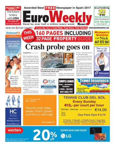 Euro weekly news costa del sol 27 july 2 august 2017 issue 1673 page 1 fandeluxe Gallery