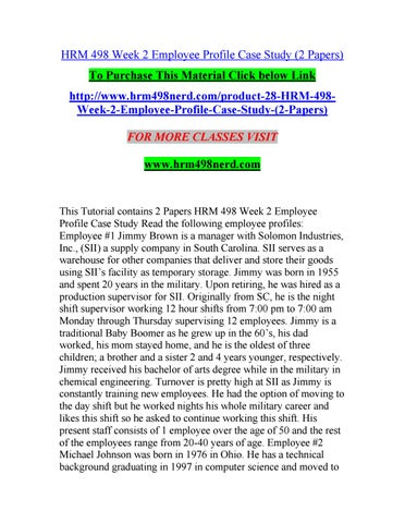 hrm case rection paper Read this essay on hrm 598 week 3 case study job evaluation at whole foods come browse our large digital warehouse of free sample essays  this paper will discuss .