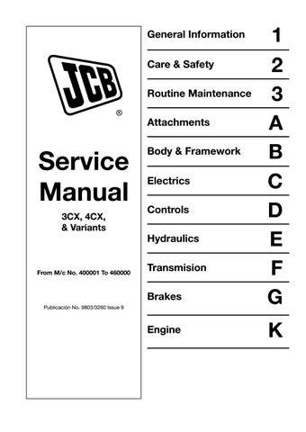 jcb 3cx backhoe loader service repair manual (sn400001 to 4600000)