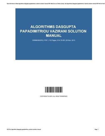 Algorithms dasgupta papadimitriou vazirani solution manual.
