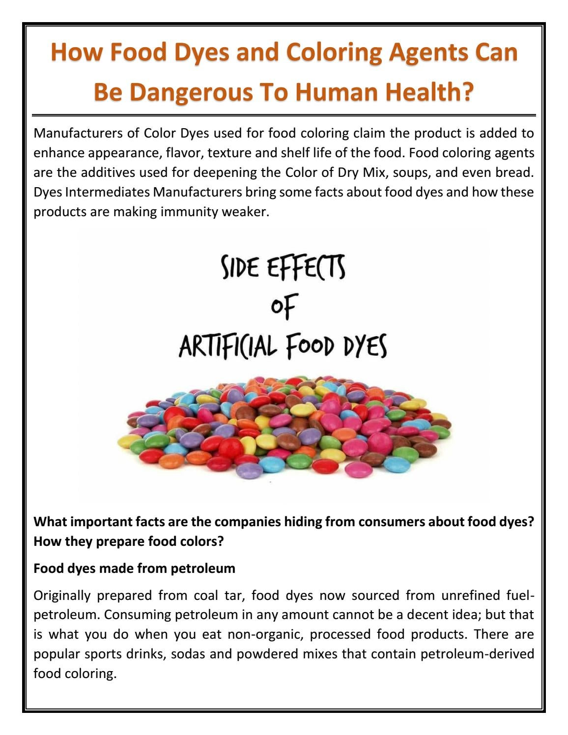 How Food Dyes and Coloring Agents Can Be Dangerous To Human Health ...