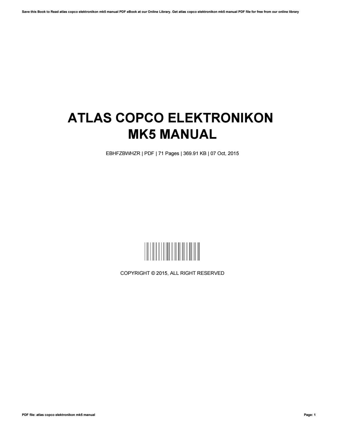 Atlas    copco    elektronikon mk5 manual by PatriciaMiller2583  Issuu