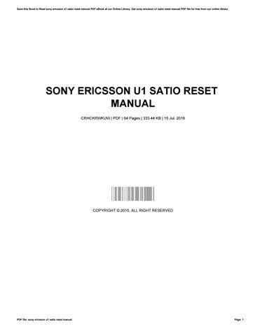 Инструкция К Sony Ericsson U1