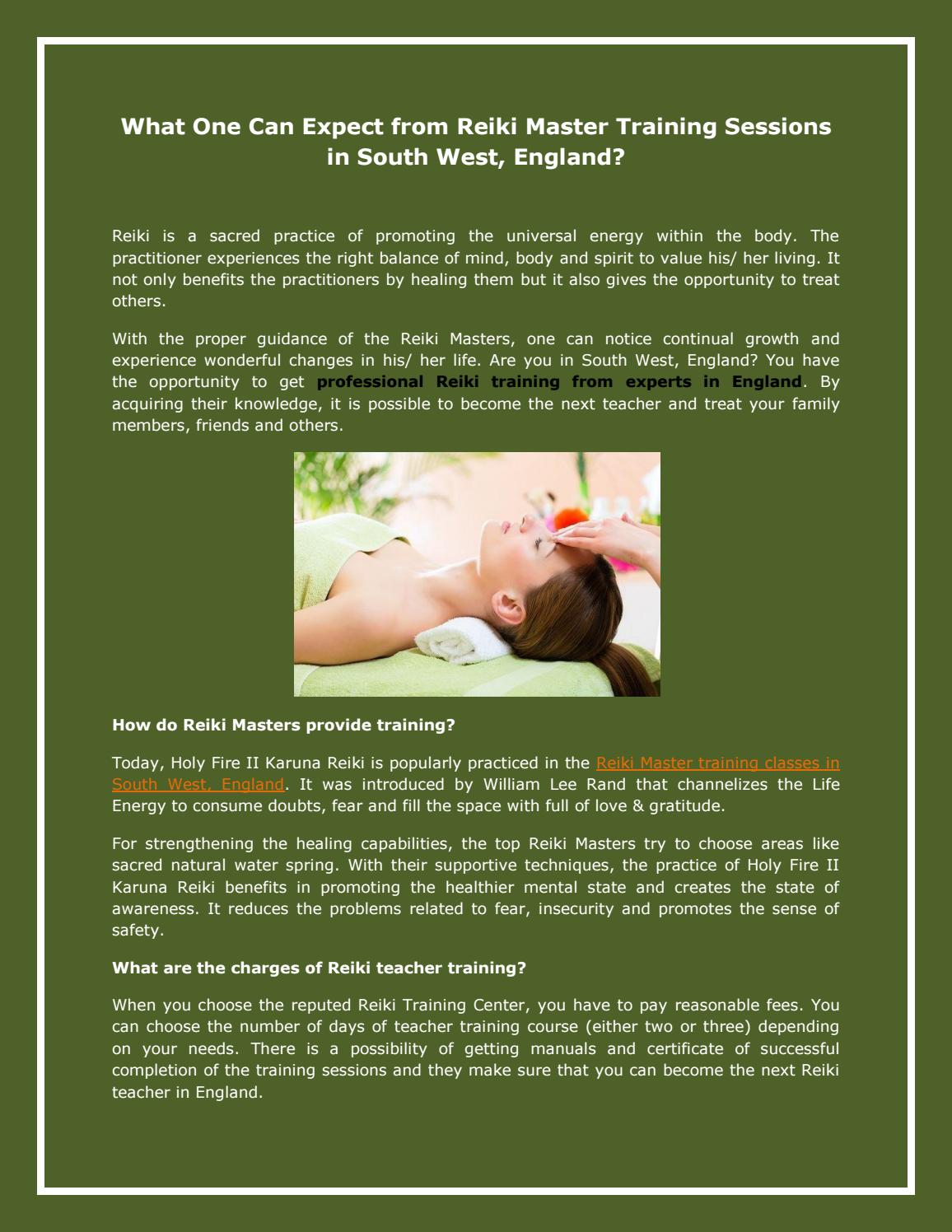 What One Can Expect from Reiki Master Training Sessions in South West,  England? by reikihealing - issuu