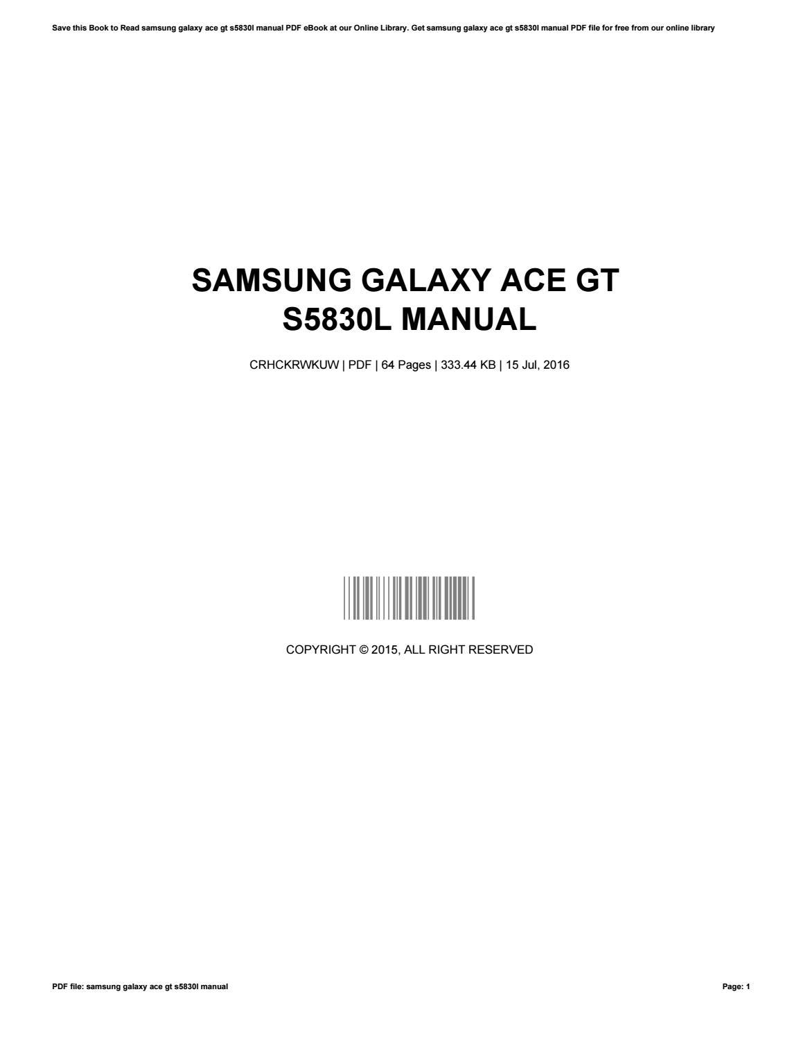 Samsung Galaxy Ace S5830 Manual Pdf