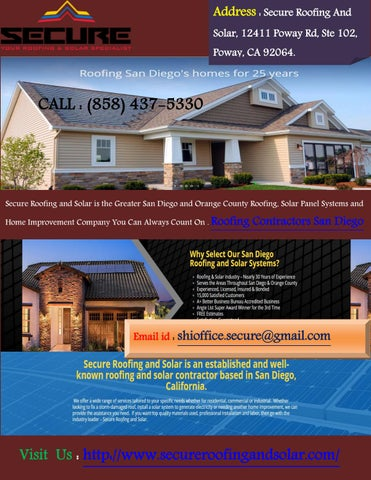 Perfect Address : Secure Roofing And Solar, 12411 Poway Rd, Ste 102, Poway, CA  92064.