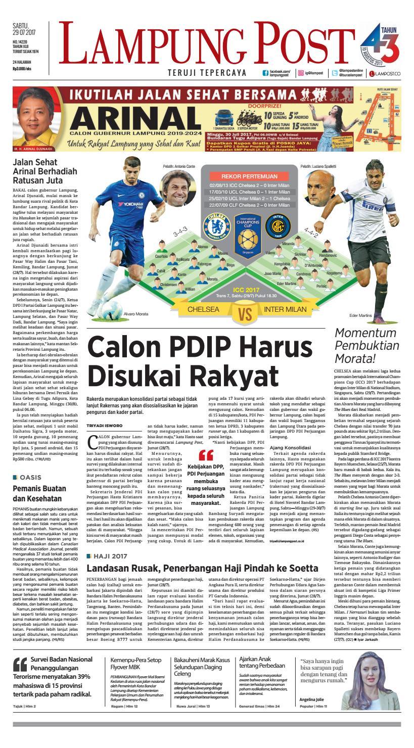Lampung Post Sabtu 29 Juli 2017 By Issuu Tcash Vaganza 17 Botol Minum Olahraga Discovery 750ml Hitam