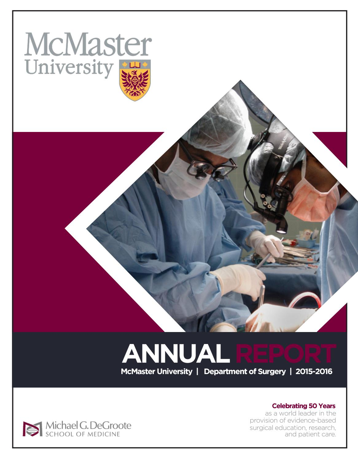 Annual Report 2015-2016 by McMaster University Department of