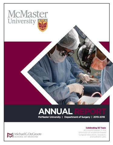 Annual Report 2015-2016 by McMaster University Department of Surgery