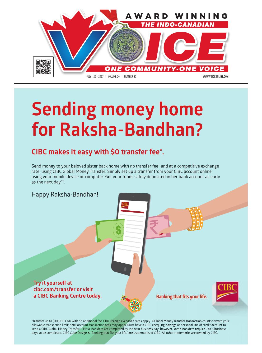 Indo Canadian Voice Main July 29 2017 By Wiring Money Cibc Communications Ltd Issuu