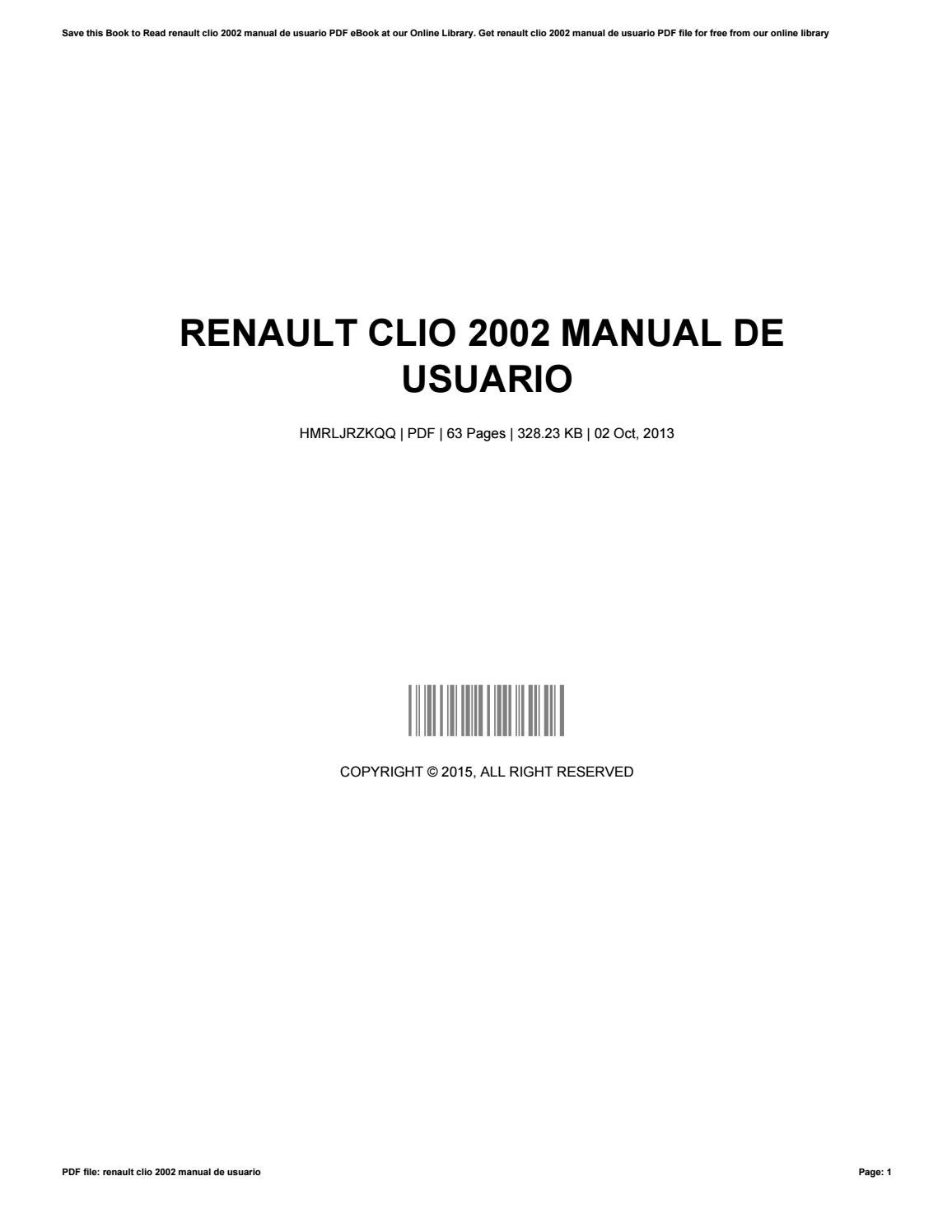 User manual renault clio 2015 ebook download array renault clio 2002 manual de usuario by gerdareagan1554 issuu rh issuu fandeluxe Image collections