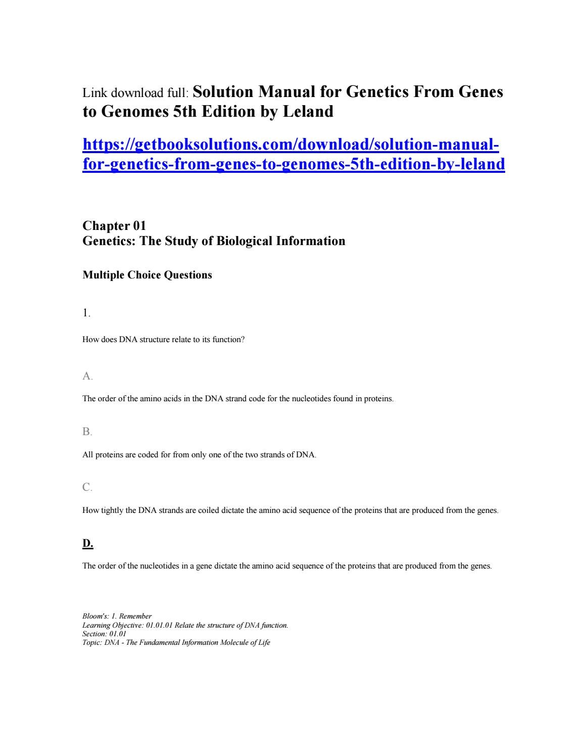 Solution manual for genetics from genes to genomes 5th edition by leland by  Emily - issuu