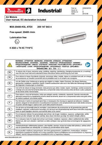 Desoutter m25 20400 ksl 2050538783 air motor user manual by ...