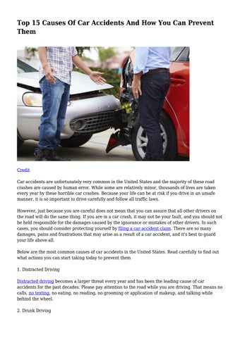 Top 15 Causes Of Car Accidents And How You Can Prevent Them    by