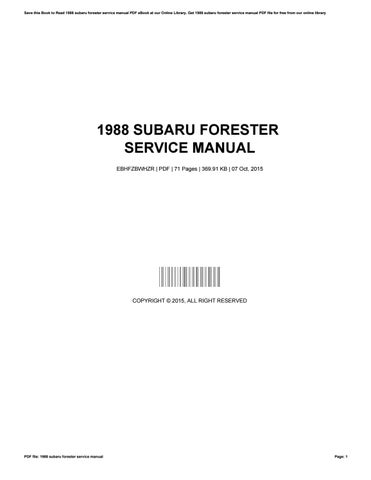1988 subaru forester service manual by nathanieltyrrell4883 issuu rh issuu com subaru forester service manual download 1998 subaru forester factory service manual