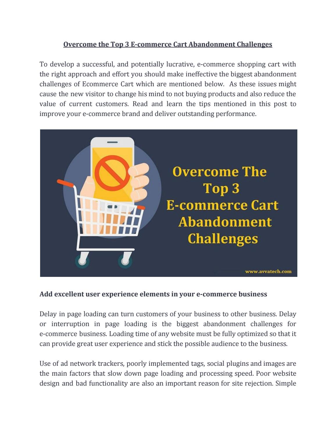 Overcome The Top 3 E Commerce Cart Abandonment Challenges By Avya Technology Pvt Ltd Issuu