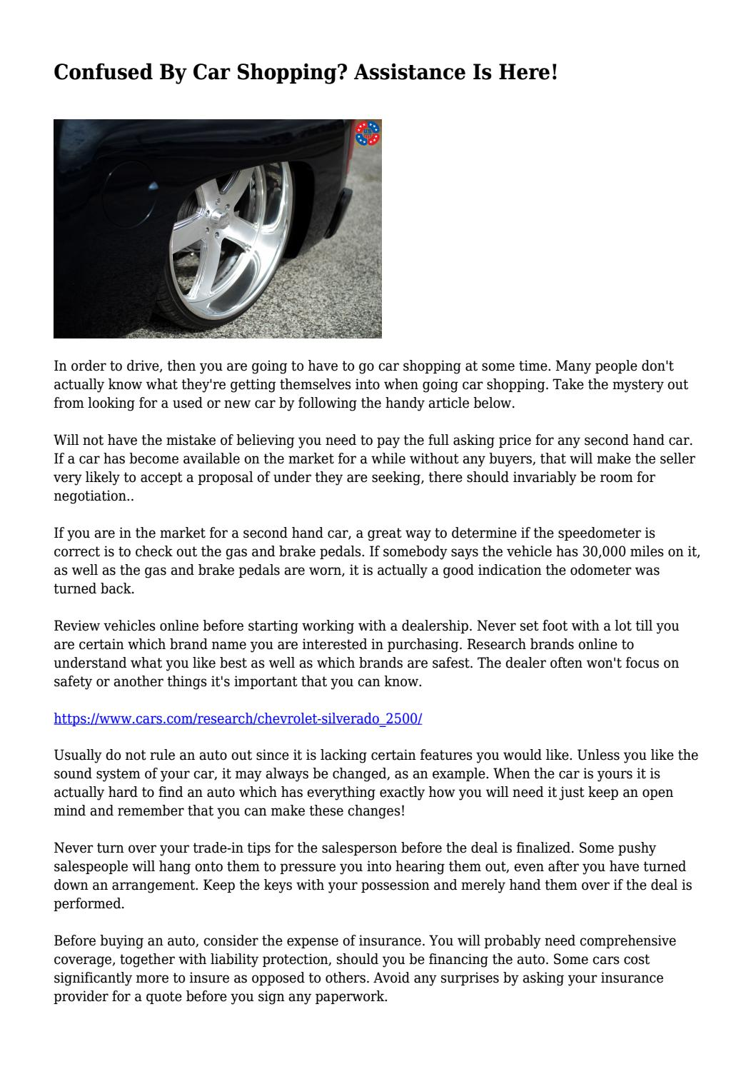 Confused By Car Shopping Assistance Is Here By Zanycan6175 Issuu